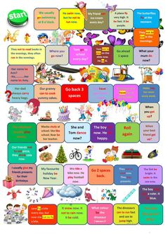Board game present simple vs present continuous worksheet - Free ESL printable worksheets made by teachers Grammar Posters, Grammar Games, Verb Games, Vocabulary Games, English Games For Kids, English Activities, English Lessons, Learn English, Printable Board Games