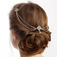 Rose Red Accessories Silver Bridal Hair Chain Headpiece With Drapes (€88) ❤ liked on Polyvore featuring jewelry, brooches, hair, silver chain jewelry, silver jewelry, silver brooch, rose jewellery and chain brooch