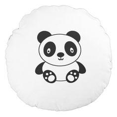 Cute Panda Round Pillow