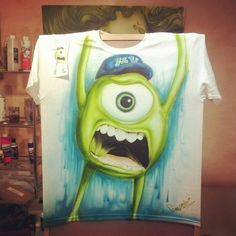 Disney monsters university mike wazowski airbrush shirt Airbrush Designs, Airbrush Art, Disney Monsters, Monsters Inc, Airbrush Shirts, Mike Wazowski, Graffiti Alphabet, Alien Art, Screenprinting