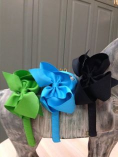 """1/2"""" Grosgrain Headband with 4"""" Bow Size 3T-8 Price: $8.00, Free Shipping Options: Apple Green (qty 2), Turquoise (qty 2), Black (qty 2)"""
