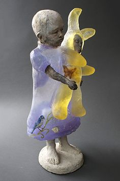 "Christina Bothwell , Easter  -  Cast glass, clay  & paint,  28 x 12 x 7.5"", made:  2013  (So beautiful with the yellow Easter Bunny)"