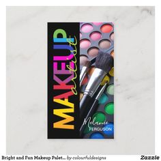 Bright and Fun Makeup Palette with Brushes MUA Business Card Diana, Makeup Artist Business Cards, Makeup Palette, Diy Doll, Best Makeup Products, Holiday Cards, Things To Come, Colourful Designs, Fun Makeup