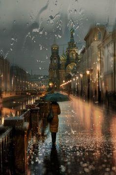 Petersburg-based photographer Eduard Gordeev's cityscape scenes capture the moody ambiance of dark skies and rain-soaked streets. Walking In The Rain, Singing In The Rain, Beautiful World, Beautiful Places, Beautiful Pictures, Rainy Night, Rainy Days, Rainy Mood, Rainy Weather