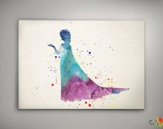 Elsa Frozen Queen Disney Watercolor Nursery Art for Girl Wedding Gift idea Girls Wall Art Home Decor Wall Hanging Multi Size n459