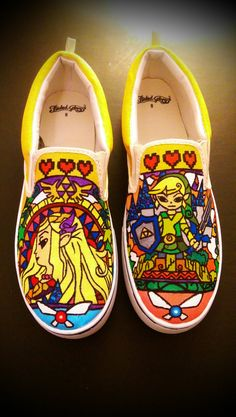 Hand Painted Zelda Stained-glass Window Shoes by ImperialPainters #custom #zelda #shoes