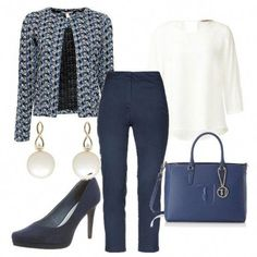 White blouse, dark blue pants, blue jacket, blue shoes and bag, earrings - Winter Combinations Fashion Business Professional Outfits, Business Casual Outfits, Office Outfits, Business Attire, Work Fashion, Fashion Outfits, Dark Blue Pants, White Pants, Casual Work Attire