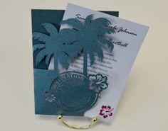 Laser Cut Palm Leaf Tree Wedding Invitation Gatefold Style, Green ...