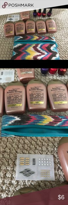 Organix Brazilian Keratin Travel size (6) 2oz bottles of Brazilian Keratin Shampoo by OGX. 4 free OPI nailcolors in fun size. Includes travel makeup pouch and Swarovski metals nail art sheet. Other
