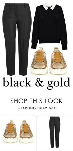 """""""Black & Gold #60654"""" by flowersfordinner ❤ liked on Polyvore featuring Lanvin, Emilio Pucci and Essentiel"""