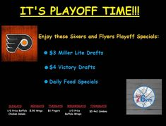 Let's get behind our Philly teams and show our support during this playoff time! Catch all the games with us and enjoy these great specials! You feel like you are at the game when you watch it on our 90 inch HD TV! #philadelphia #flyers #philadelphiaflyers #hockey #sixers #76ers #philadelphiasixers #philadelphia76ers #basketball #NBA #NHL #playoffhockey #bensimmons25 @bensimmons25 #victorybrewing @victorybeer #victory #MillerLite