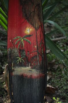 Painted palm frond