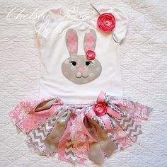 Girls Easter Outfit, Easter Bunny Shirt, Girls Easter shirt and Easter tutu, Baby's 1st Easter, Baby girl tutu, Baby Easter, Easter Dress by ChelseaRoseBaby on Etsy https://www.etsy.com/listing/220308690/girls-easter-outfit-easter-bunny-shirt