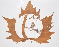 "Lorenzo Duran ""Coruja"" - Escultura em folha seca."