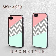 iPhone 4 Case, iPhone 4S Case, iPhone 5 Case, Mint & Coral Chevron Block, Plastic Phone Cases, Case for iphone, Case No-033