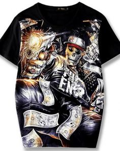 adee7615a 3D rock skull t shirt black plus size clothing for guys Rock Tees, 2017  Summer