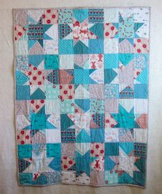 Red and Aqua Star Patchwork modern quilt wonky star