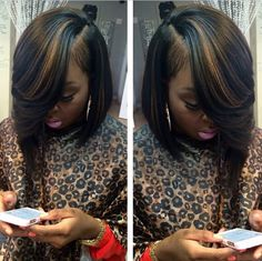 Black with blonde highlights Bob