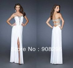Online Shop Strapless Crystals Bodice Low Back Side Slit White Chiffon Custom Made Side Cut Out Prom Dresses Aliexpress Mobile