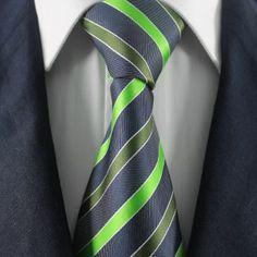 Green & Black Striped Neckties / Formal Business Neckties