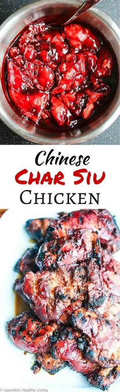Grilled Chinese Char Siu Chicken - this marinade is phenomenal! No artificial colors in this recipe - brilliant red beet powder stands in for red food coloring ~ http://jeanetteshealthyliving.com #chinesefoodrecipes