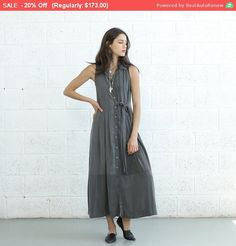 Summer Sale Pleated Maxi Dress With Tie front Drak Grey by Naftul