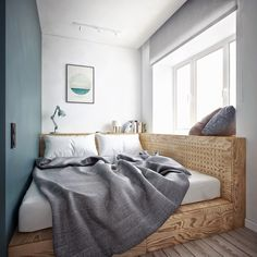 dank Podestbett entsteht eine Sitzecke am Fenster Thanks to the platform bed, a seating area is crea One Bedroom Apartment, Apartment Interior, Apartment Furniture, Apartment Ideas, Bedroom Furniture, Bedroom Decor, Bedroom Ideas, Bedroom Alcove, Bedroom Bed