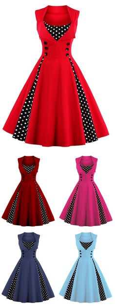 $14.43,Midi Polka Dot Prom Rockabilly Swing Vintage Prom Dresses - Red 2xl | Rosewholesale,rosewholesale.com,rosewholesale clothes,rosewholesale.com clothing,rosewholesale dress,rosewholesale dress plus size,rosewholesale vintage dress,rosewholesale vintage,rosewholesale bathing suit plus size, vintage dress,dress,christmas red | #rosewholesale #dress #vintage