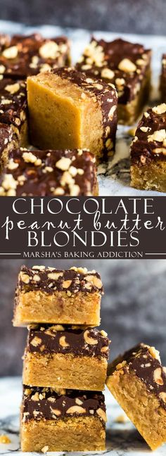 Chocolate Peanut Butter Blondies - Deliciously fudgy blondies loaded with peanut butter, and topped with a salted peanut chocolate layer! Recipe on marshasbakingaddi. Peanut Butter Dessert Recipes, Best Dessert Recipes, Brownie Recipes, Chocolate Recipes, Sweet Recipes, Bar Recipes, Peanut Butter Blondie Recipe, Recipies, Cooking Chocolate