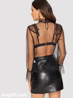Sheer Mesh Top, Short Skirts, Lace Trim, Leather Skirt, Lingerie, Womens Fashion, Sexy, Pretty, Clothes