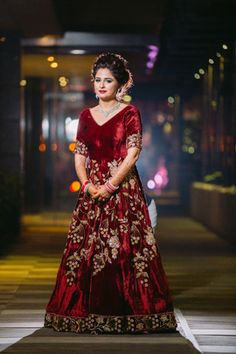 c0586365c06 Indian Wedding Gowns - Marsala Velvet Gown with Gold Embroidery
