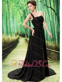 Custom Made Black One Shoulder Appliques Prom Dress Beaded Decorate Bust In Formal Evening- $152.58  http://www.fashionos.com  http://www.facebook.com/quinceaneradress.fashionos.us  fashionable prom dress in 2013 | lovely prom dress for spring | fabulous prom dress for fall | chiffon fabric prom dress for prom party | black empire prom dress | chic prom dress for christmas | black prom dress with court train | black floor length prom dress for formal evening |