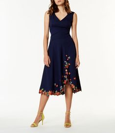 Karen Millen, Embroidered Hem Dress Blue/Multi 1