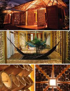 Architect Benjamin Garcia Saxe created this intricate, light-filled, open-air bamboo home for his mother in Costa Rica. Being open to the air allows the house to catch every breeze that comes through, but the bamboo and roof are angled to protect against rain. Inside, a cone-shaped dome gives Saxe's mother a view of the sun and moon, with the space protected by an umbrella-like second roof.