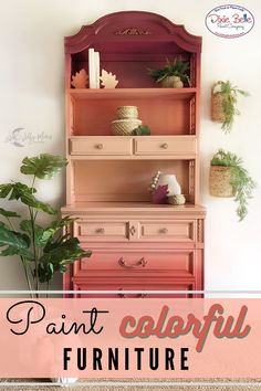 Give your vintage furniture a colorful pop with Chalk Mineral Paint! This sunset hutch was painted in the colors Apricot, Flamingo, and Plum Crazy by Dixie Belle Paint! Orange Painted Furniture, Painted Furniture For Sale, Colorful Furniture, Repurposed Furniture, Vintage Furniture, Furniture Repair, Furniture Makeover, Diy Furniture Tutorials, Paint Companies