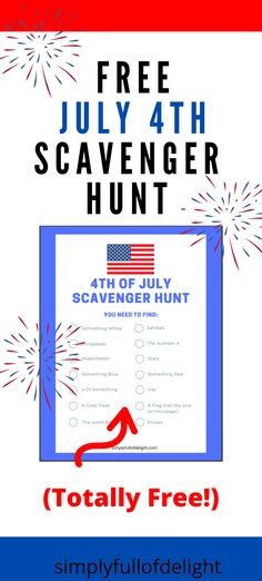 Keep those kiddos busy on July 4th with this FREE fun filled printable scavenger hunt!  Print as many as you like and.....Start the HUNT!   #july4th #4thofjuly #patriotic Happy 4 Of July, 4th Of July, Fun Activities For Kids, Family Activities, Baby Shower Registry, Rainy Day Fun, Attachment Parenting, Birthday Party Games, Free Fun