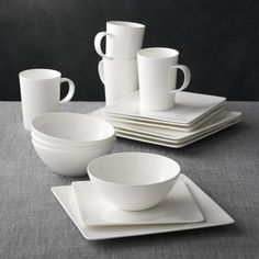 Bennett Square 16-piece Dinnerware Set The traditional quality and translucence of fine white bone china are reinterpreted for the modern table by designer Martin Hunt as a pristine collection of contemporary square shapes that dress up or down.