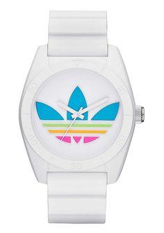 Armbanduhr, »Santiago, ADH2916«, adidas Originals.  Diese modische Armbanduhr ist ein echter Blickfang an Ihrem Handgelenk. Die Uhr überzeugt nicht nur durch sportliche Eleganz. Das pastellfarbene Adidas-Logo ist ein zusätzlicher Eyecatcher.Quartzwerk, Zifferblatt weiß-bunt, Silikongehäuse weiß, Ø ca. 42 mm, Silikonband weiß, Gesamtlänge ca. 24,5 cm, verstellbar von ca. 17 cm bis ca. 22,5 cm, D...