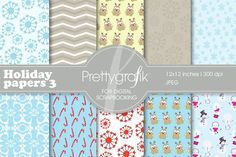 Christmas digital paper, commercial. Christmas Patterns. $3.00