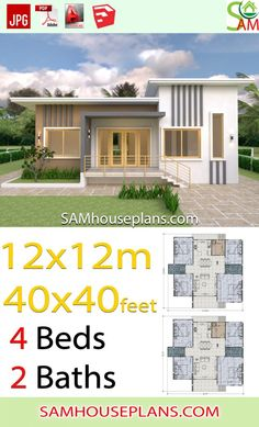 House Plans Meter with 4 Bedrooms Shed roof Feet - Sam House Plans House Sketch Plan, 4 Bedroom House Designs, Affordable House Plans, Simple House Design, Shed Roof, Gable Roof, Minimalist Room, Container House Design, Tiny House Plans