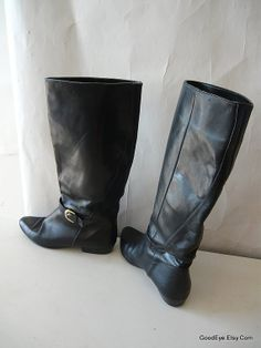 Vintage Leather Harness Boots Size 7 .5 M Black Slouch by GoodEye, $62.00