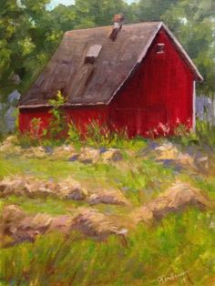 Little Red Barn, painting by artist Judith Anderson