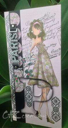 Great layering and fun dress for Julie Nutting girl stamps by CAZ creations.
