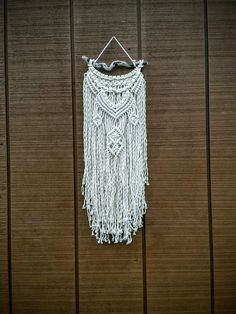 SALE / Macrame Textured Wall Hanging / Knotted Fringe Tapestry by WallHuggerHandmade on Etsy
