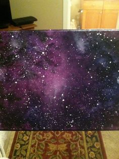 Melted crayon art on canvas by Lauren Elizabeth. Galaxy scene. Galaxy stars space