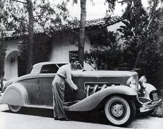 Clark Gable and his customised Duesenberg SJ, 1930s, via Flickr.