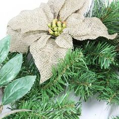 NorthlightSeasonal Autumn Harvest Burlap Poinsettia Moss Ball Mixed Pine and Berries Fall Teardrop Swag with Unlit