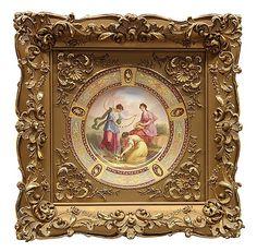 Framed Royal Vienna porcelain cabinet plate