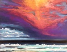 One of a kind original oil pastel drawing of a sunset in Australia