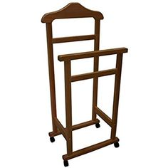 Nut-Brown Wooden Valet Stand Clothes Hanger or Clothes Horse for Bedroom Clothes Horse, Clothes Hanger, Valet Stand, Linen Bedding, Home Kitchens, Home Accessories, Stool, Bedroom, Brown